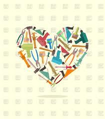 symbol heart of construction tools vector clipart image 133695