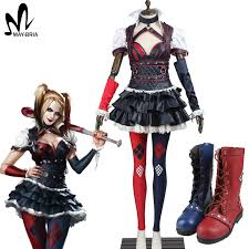 Harley Quinn Halloween Costume Aliexpress Buy Batman Arkham Knight Harley Quinn Cosplay