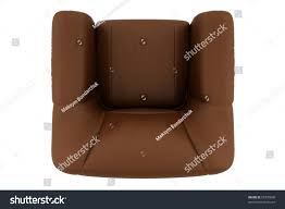 White Leather Arm Chair Top View Brown Leather Armchair Isolated Stock Illustration