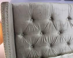 Winged Tufted Headboard by Bedroom Elegant Chantal Silver Grey Velvet Studded Winged Bed