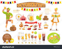 types of mugs oktoberfest poster depicting barrels various types stock vector
