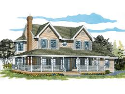 farmhouse with wrap around porch painted creek country farmhouse plan 062d 0309 house plans and more