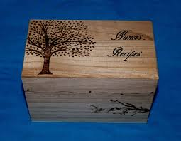 Personalized Wooden Boxes Essence Of The South U2014 Decorative Wood Recipe Card Box Wood Burned