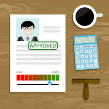 bureau des hypoth鑷ue hypothèque et prêt approuvés illustration de vecteur illustration