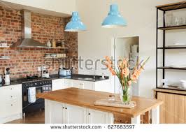 kitchen and home interiors front view kitchen table fancy stock photo 667219141