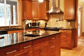 cherry wood kitchen ideas cherry kitchen cabinets with gray wall and quartz