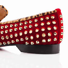 wholesale christian louboutin harvanana spikes suede loafers flat