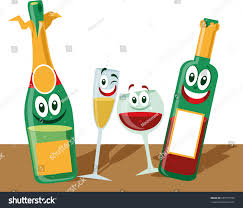 cartoon wine bottle cartoon wine bottles glasses stock vector 605777978 shutterstock