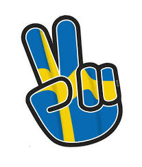 hippy style peace hand with sweden swedish country flag motif