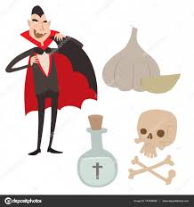 spooky symbols cartoon dracula vector coffin symbols vampire icons character