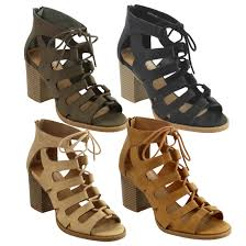 myer s boots s summer shoes lace up strappy back zipper stacked block