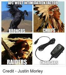 Raiders Chargers Meme - afcwestintimidation factor chiefs broncos raiders chargers credit