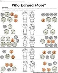 fun money worksheets circle the kid who earned more money