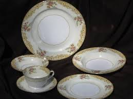 1920s 30s vintage noritake ashford painted china dishes set for 4