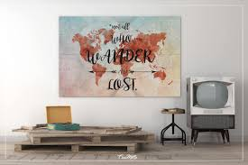 World Map Home Decor World Map Quote Watercolor World Map Canvas Print World