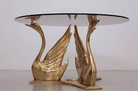 brass swan coffee table massive brass coffee or side table with swans for sale at 1stdibs