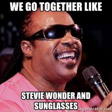 We Go Together Meme - we go together like stevie wonder and sunglasses stevie wonder