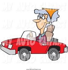 cartoon convertible car clip art of a happy old lady driving a red convertible car by