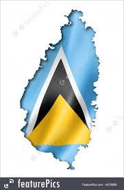 Saint Lucia Map Saint Lucia Flag Map Illustration