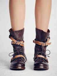 long motorcycle boots free people into the abyss lace up boot in brown lyst
