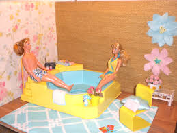 Barbie Doll House Tub Patio Complete Room Pool Garden Ken
