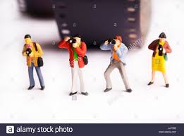 miniature figurines of photographers press news and paparazzi