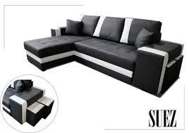 canapé d angle pouf canape d angle à gauche convertible suez noir blanc