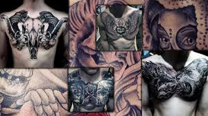 abstract realistic chest tattoo design collections for men