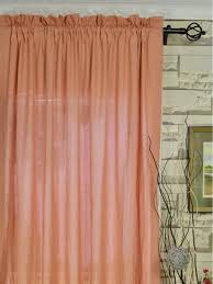 qyk246see eos linen red pink solid rod pocket sheer curtains