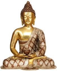 Buddhist Decor Lord Buddha In Dhyana Mudra Robes Decorated With Lotus Flowers