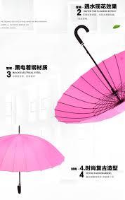 24k rib firm solid windproof long straight handle sun rain stick