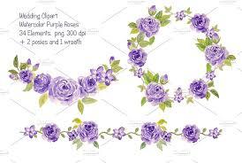 wedding flowers clipart wedding purple collection illustrations creative market