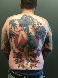 just finished a full back piece tattoo by michael cathedral