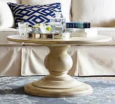 round white wood coffee table dawson round pedestal coffee table pottery barn