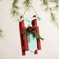 wood sled ornaments set of 3 world market