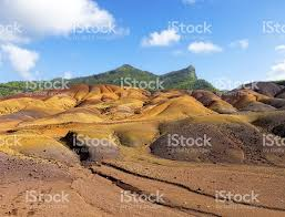 colored sand multi colored sand dunes of chamarel stock photo istock