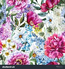 watercolor flower pattern spring flowers peony stock illustration