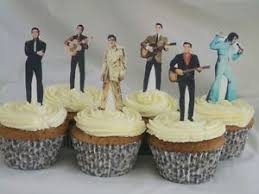elvis cake topper 12 elvis pre cut wafer edible cupcake toppers stand ups ebay