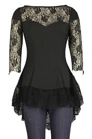 black gothic blouse with lace sleeves by chicstar