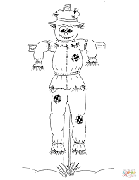 scarecrow hay man in old clothes coloring page free printable