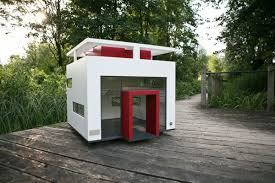 cool dog houses creative idea ultra modern white outdoor dog house on rustic wood