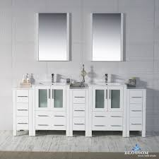 Bathroom Vanity With Side Cabinet 84 Glossy White Vanity Side Cabinets