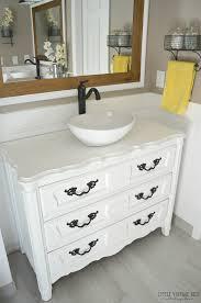 Repurposed Furniture For Bathroom Vanity Convert Dresser To Vanity Vessel Sink Repurposed Bathroom Vanity