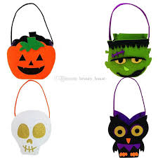 felt halloween goody bags scary skull owl trick or treat candy bag