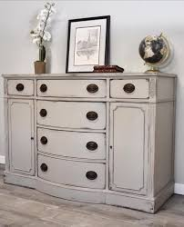 drexel buffet painted with french linen chalk paint and finished