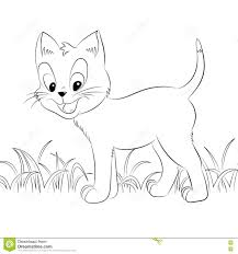 happy cute outline kitten simple cartoon style page for art