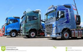 new volvo commercial three new volvo euro 6 fh trucks in a show editorial stock image