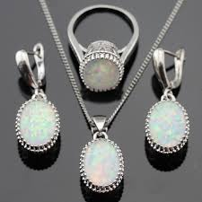 opal stone silver necklace images White opal stones silver jewelry sets jpg