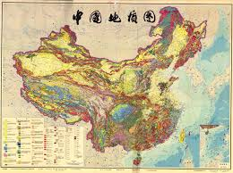 Physical Map Of China by Geological Map Of China 1989
