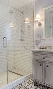 the master bathroom features subway tile carrara marble and
